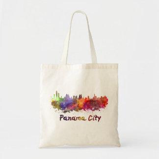 Panama City skyline in watercolor Tote Bag