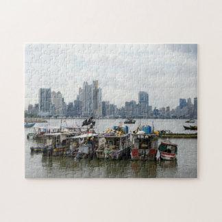 Panama City Skyline With Fishing Boats Jigsaw Puzzle