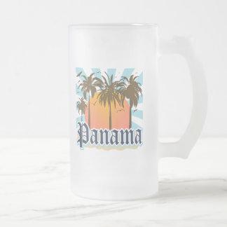 Panama City Souvenir 16 Oz Frosted Glass Beer Mug