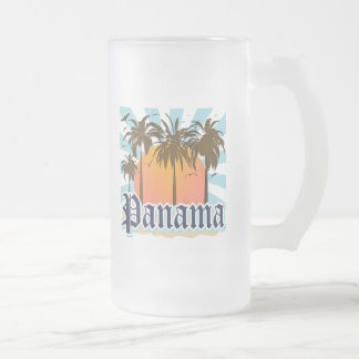 Panama City Souvenir Frosted Glass Beer Mug