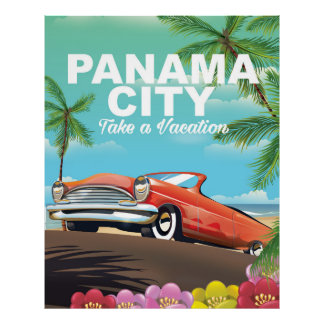 panama city vintage travel poster