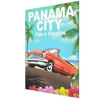panama city vintage travel poster canvas print