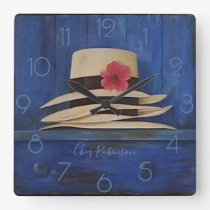 Panama Hats Personalised Square Wall Clock