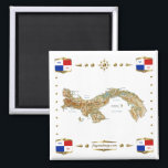 """Panama Map   Banners Magnet<br><div class=""""desc"""">This design comprises a Panamanian map within a border featuring a national banner.  The design works best on square magnets. You may add your own text/graphics using the &#39;Customize it!&#39; feature.</div>"""