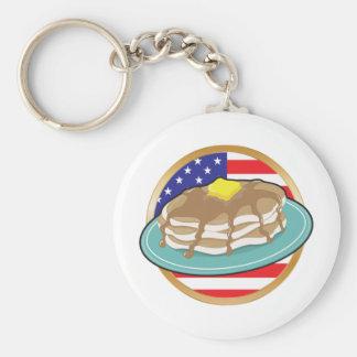 Pancake American Flag Basic Round Button Keychain
