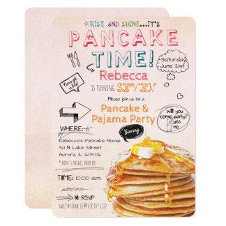 Pancake and Pajama Party Birthday Invitation