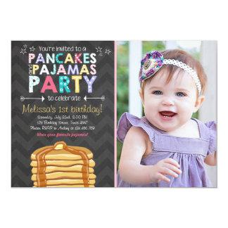 Pancake and Pajamas birthday invitation