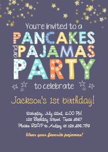 pancake and pajamas birthday invitation boy blue