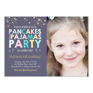 Pancake and Pajamas birthday invitation Girl Pink
