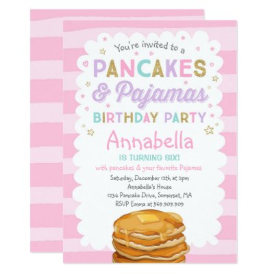 Pancake and pajama birthday party invitations zazzle filmwisefo