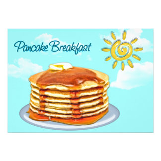 Pancake Breakfast Sun Sky Clouds Personalized Invitations