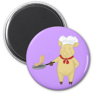 Pancake Flipping Pig Chef 2 Inch Round Magnet