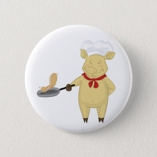 Pancake Flipping Pig Chef Button