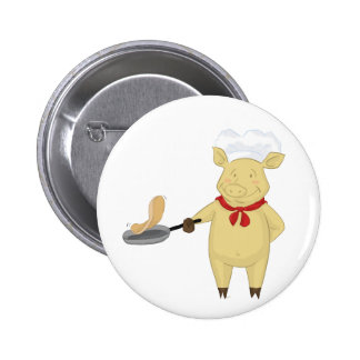 Pancake Flipping Pig Chef Button