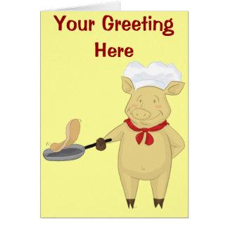 Pancake Flipping Pig Chef Card