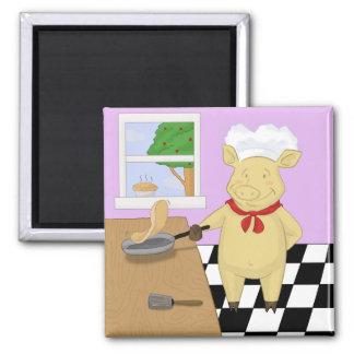 Pancake Flipping Pig Chef Magnet Fridge Magnets