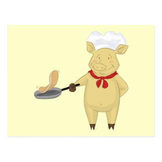 Pancake Flipping Pig Chef Postcard