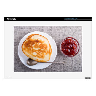 """Pancakes and a glass cup with strawberry jam 15"""" laptop skin"""