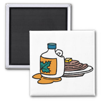 pancakes and maple syrup 2 inch square magnet