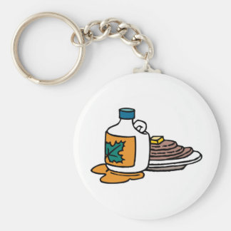 pancakes and maple syrup basic round button keychain