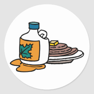 pancakes and maple syrup classic round sticker
