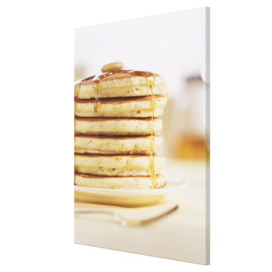 Pancakes and Melting Maple Syrup Canvas Print
