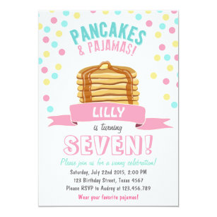Pajama party invitations announcements zazzle pancakes and pajamas birthday party invitation filmwisefo