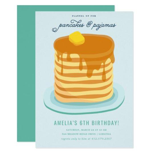 730e35a0cf06 Pancakes and Pajamas Birthday Party Invitation