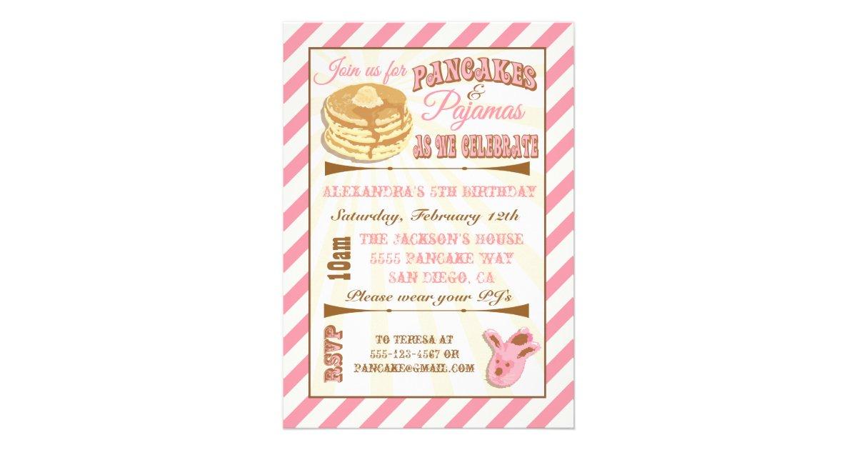 Pancakes and pajamas birthday party invitations filmwisefo