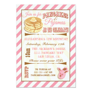"Pancakes and Pajamas Birthday Party Invitations 5"" X 7"" Invitation Card"