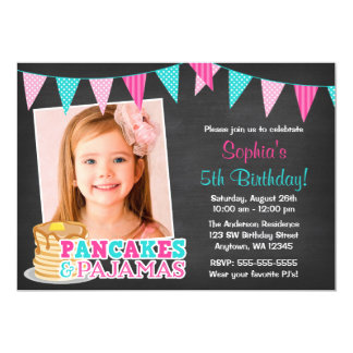 Pancakes and Pajamas Chalkboard Photo Birthday 5x7 Paper Invitation Card