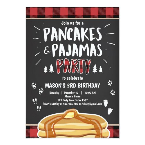 Pancakes and Pajamas Lumberjack Birthday Invite