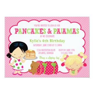 Pancakes and Pajamas Sleepover Party 5x7 Paper Invitation Card
