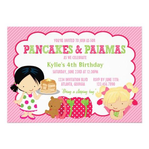 Pancakes and Pajamas Sleepover Party Custom Invitation