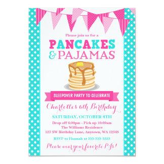 Pancakes and Pajamas Sleepover Pink Teal Birthday 4.5x6.25 Paper Invitation Card