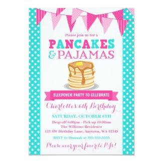 Pancakes and Pajamas Sleepover Pink Teal Birthday 5x7 Paper Invitation Card
