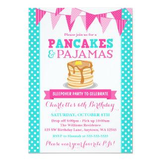 Pancakes and Pajamas Sleepover Pink Teal Birthday Card