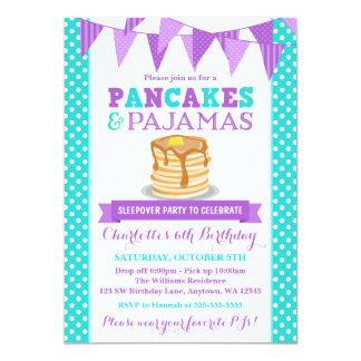 Pancakes and Pajamas Sleepover Purple Birthday 5x7 Paper Invitation Card