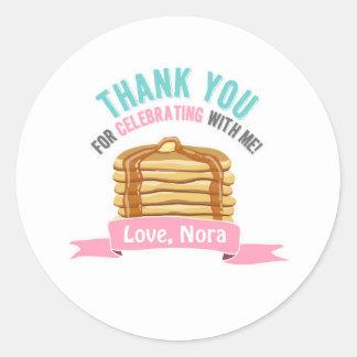 Pancakes and Pajamas Thank You Birthday Tags Classic Round Sticker