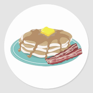 Pancakes Bacon Classic Round Sticker