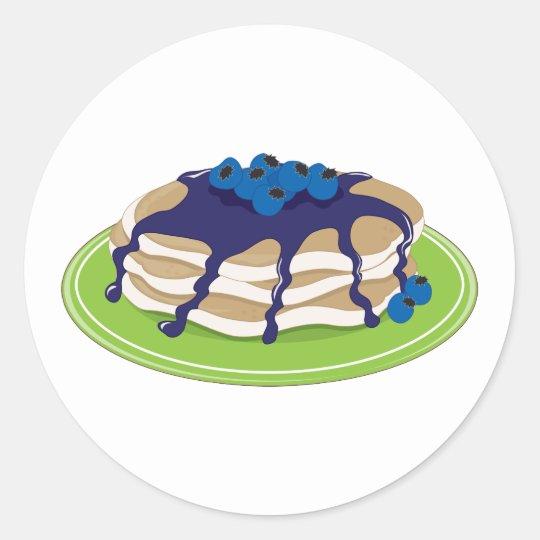Pancakes Blueberry Classic Round Sticker