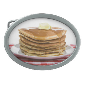 Pancakes Flap Jacks Maple Syrup Butter Worth Oval Belt Buckle