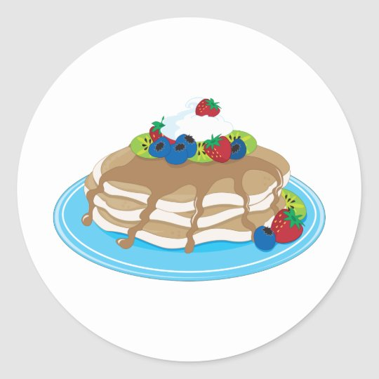 Pancakes Fruit Classic Round Sticker