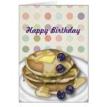 Pancakes Happy Birthday Polka Dots Card