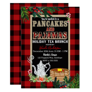 Pancakes & Pajamas Holiday Tea Brunch Rustic Plaid Card