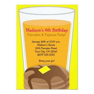 "Pancakes & Pajamas Yellow Brunch Party Invitation 4.5"" X 6.25"" Invitation Card"