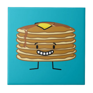 Pancakes stack butter syrup fluffy breakfast ceramic tile