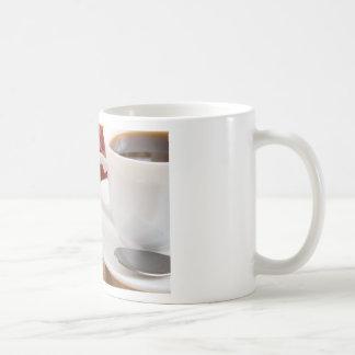 Pancakes with honey, strawberry jam coffee mug