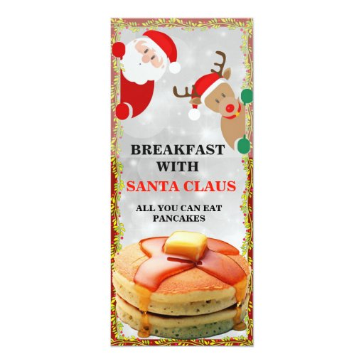 Pancakes with Santa Claus Breakfast Invitations | Zazzle