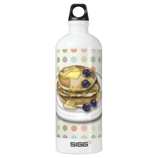 Pancakes With Syrup And Blueberries Aluminum Water Bottle